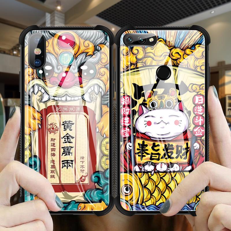 苹果X钢化玻璃手机壳iPhone XS Max四角防摔iPhoneX透明苹果7/8/6/6s/Plus超薄新iPhonexr防摔软外壳国潮图案