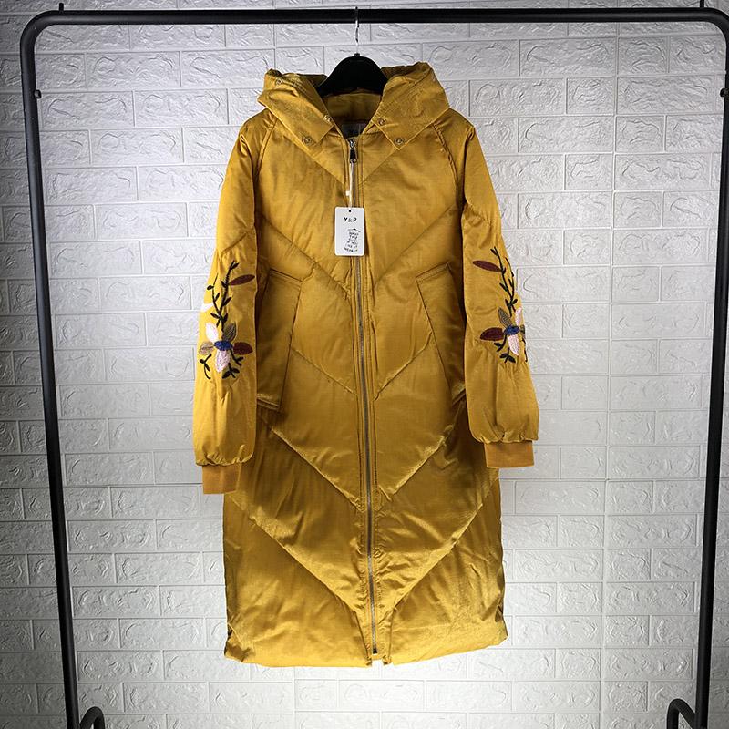 冬装新款刺绣轻奢气质棉袄时尚显瘦中长款过膝羽绒棉服女147