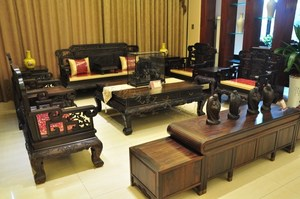 Free shipping rosewood living room combination large apartment residential mahogany furniture solid wood Chinese neo-classical carved sofa