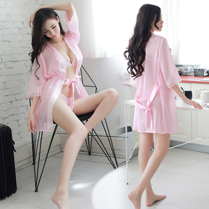 Haoguang sexy perspective underwear three-point pajamas women's sexy clothes seduction suit couple flirt transparent bathrobe