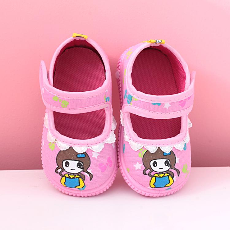 女宝宝学步鞋 软底叫叫鞋单鞋 婴幼儿方口鞋帆布鞋魔术贴春秋童鞋