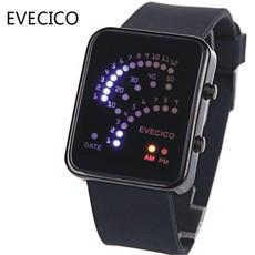 EVECICO复古时尚LED扇形手表电子表防水运动果冻表情侣表潮流