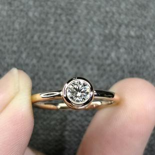 金涛CVD人工合成/实验室培育钻石包镶女白18K黄30分经典求婚结婚图片