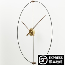 创意简约现代风格北欧美西wt9牙圆形客zk铜静音挂钟时钟表