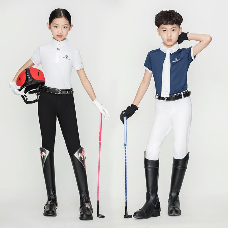 舒适透气儿童马术马裤儿童骑马裤弹性面料耐磨儿童骑马装备马术裤