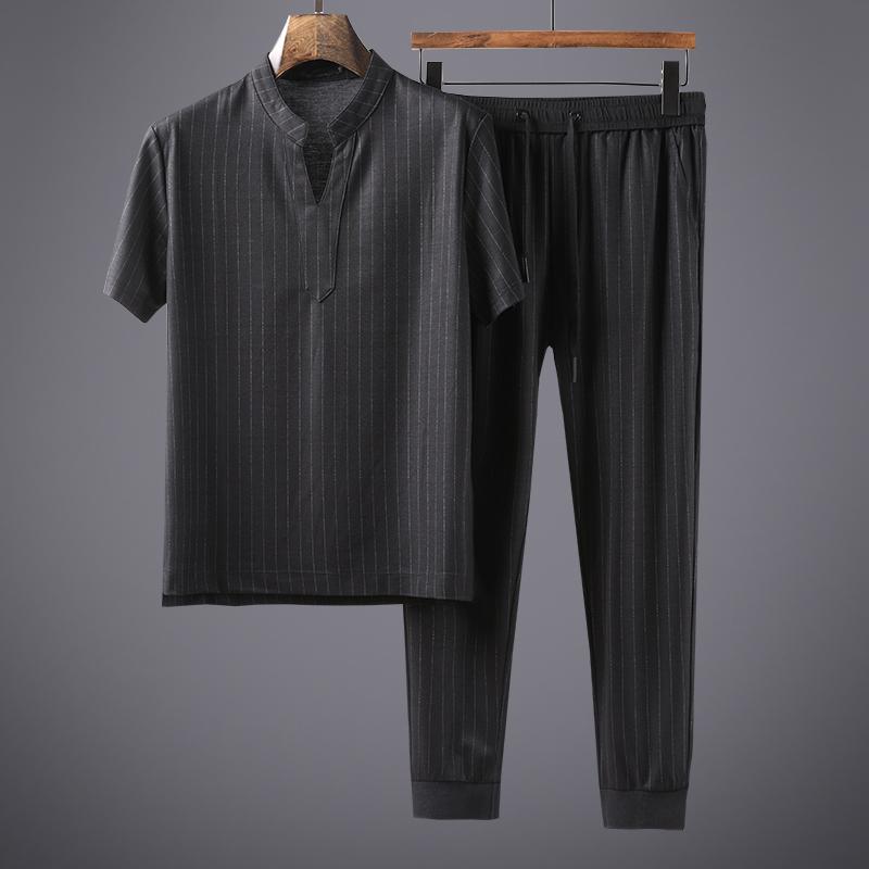 竖纹显瘦帅气款矮个子男士夏天运动休闲套装九分裤V领短袖2件套