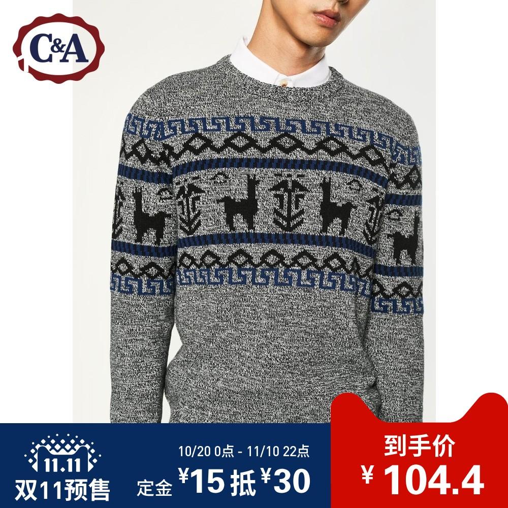预售C&A撞色提花针织毛衣男 图案圆领套头衫CA200197698-5