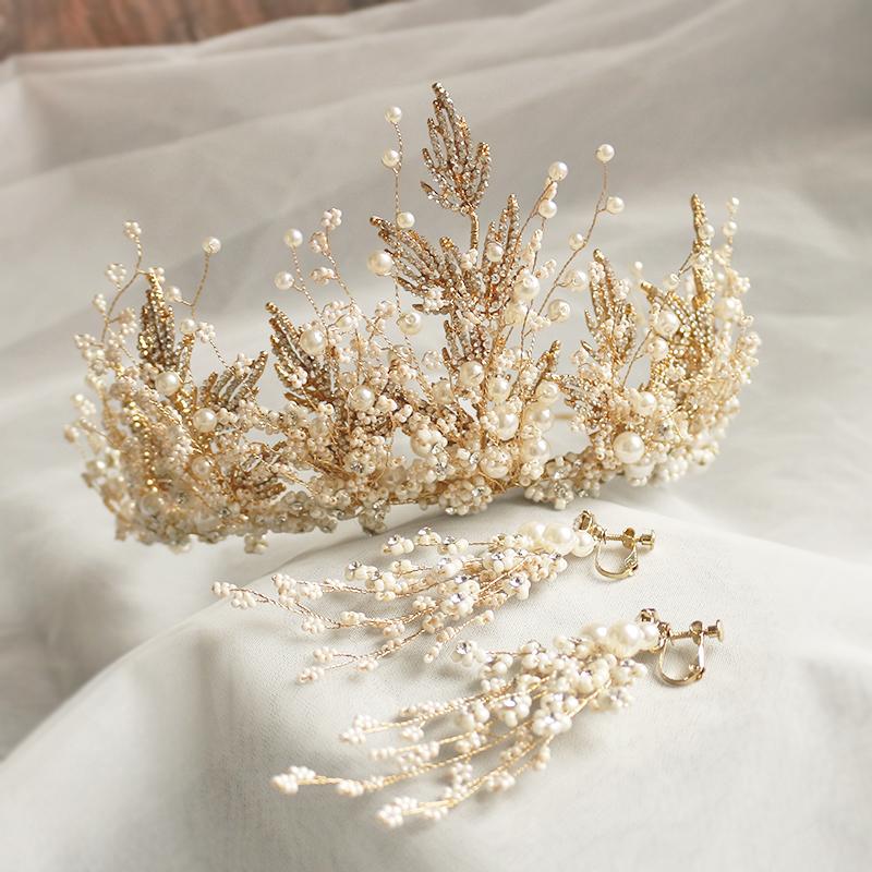 新娘皇冠头饰超仙手工串珠圆冠发饰结婚旅拍摄影造型婚礼配饰品