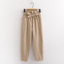 休闲哈伦裤132夏季20rc新式女装高腰直筒长裤学生韩款花苞裤子