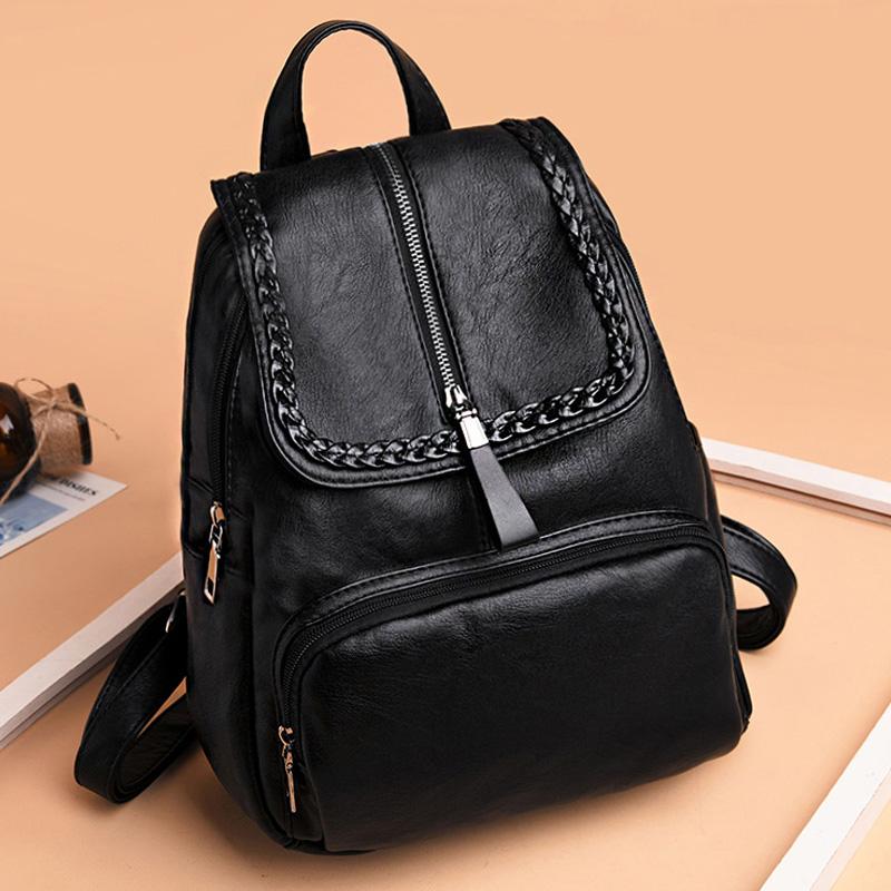 新品双肩包女2018韩版潮女士背包女双肩软皮书包休闲旅行包女包包