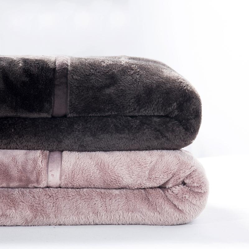 出口良品无印法兰绒毛毯双层加厚拉舍尔毯子单