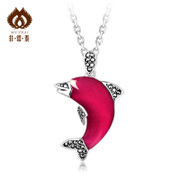 Ms Tai Dolphin Ruby necklace pendant silver pendant 925 pale rose colour corundum jewelry ideas