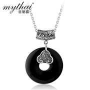Thai natural black agate ring necklace pendant ladies Xiangyun Thai silver jewelry, 925 Silver jewelry