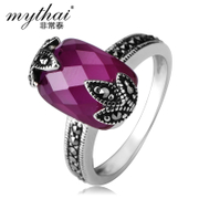 Thai Thai silver jewelry 925 Silver European and American popular retro red corundum gems leaves ring