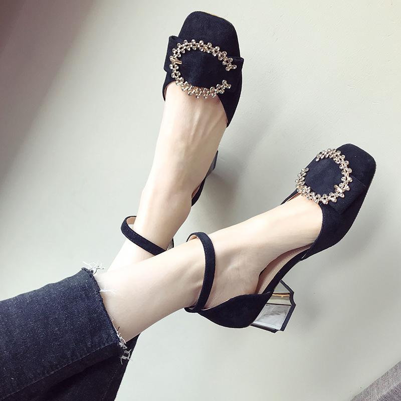 鞋遇一字扣带凉鞋女高跟2019夏季百搭包头中空水钻复古罗马粗跟女