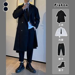 套装款式都有  2020秋冬新款风衣男士中长款特宽松毛呢大衣外套图片