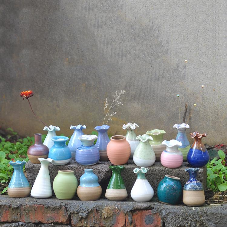 复古小花瓶陶瓷小清新花器创意迷你花瓶摆件客厅插花水培家居饰品