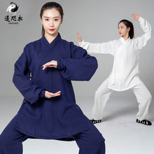 武当夏ku0亚麻女夏ni道袍道士服装男武术表演服道服男