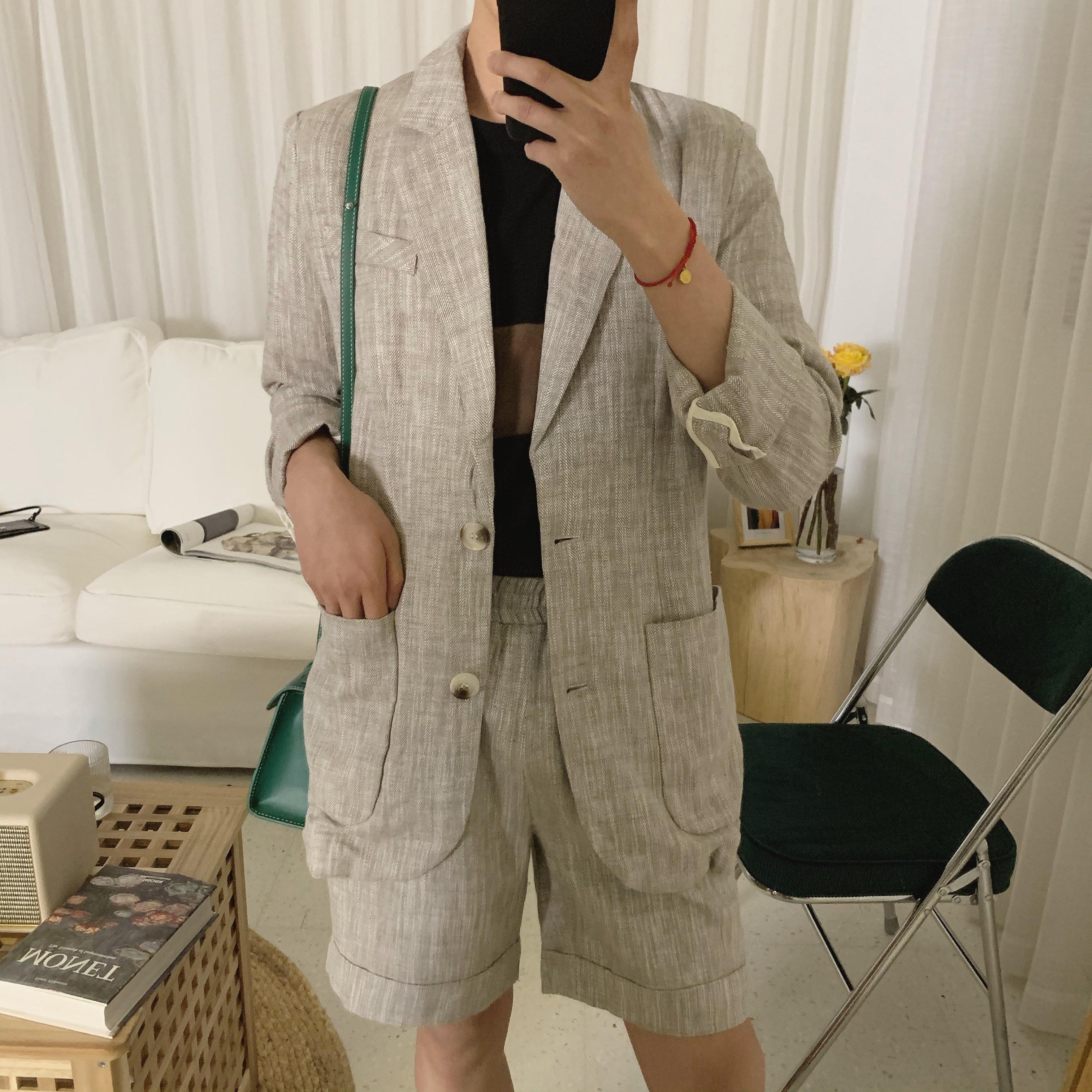 阿茶与阿古人字纹西装男套装春夏高级感休闲男士西服短裤套装