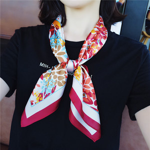 New Korean European and American style small square scarf scarves retro hair band flower strapping professional scarf stewardess square scarf