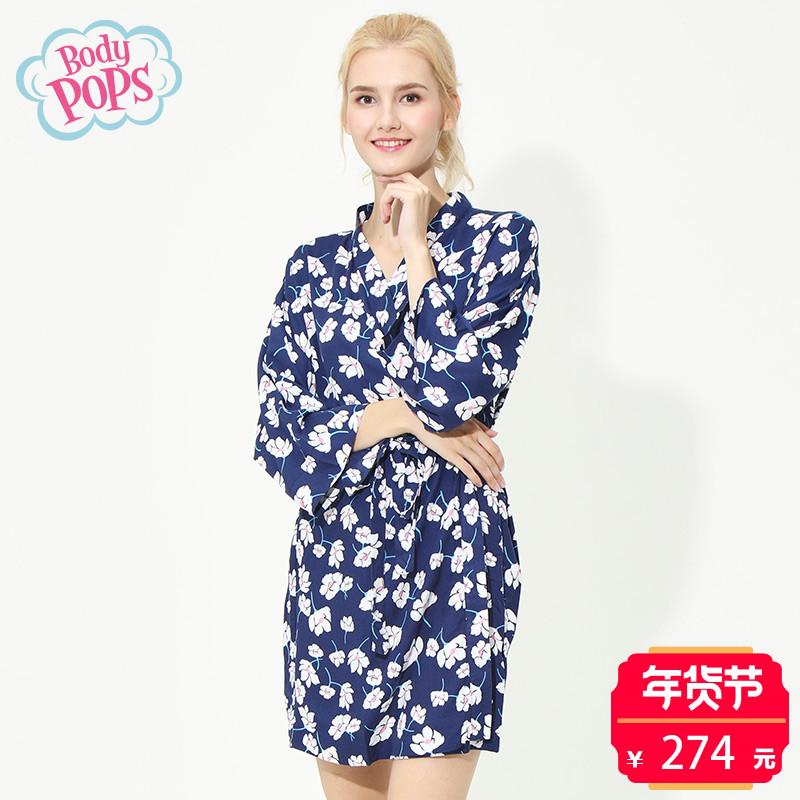 【新品】bodypops商场同款女式休闲花朵印花家居服睡袍BCGN749R11