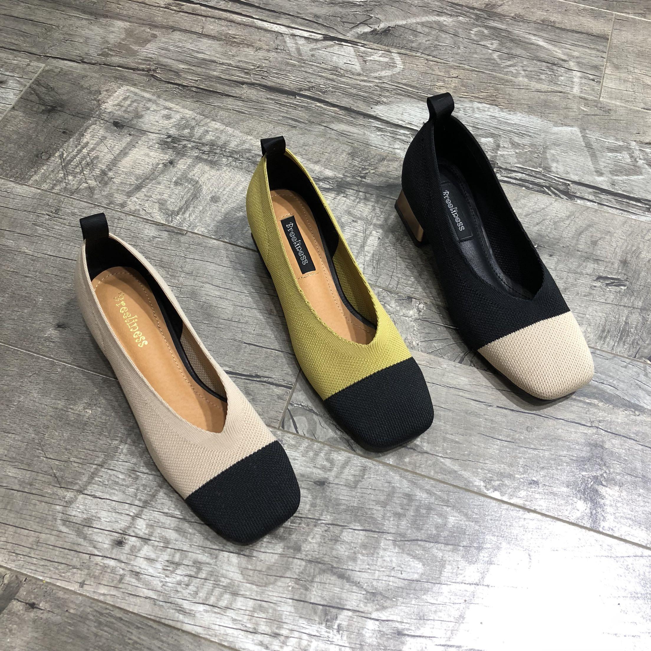 奶奶鞋2018秋季新款复古方头舒适粗跟高跟鞋针织拼色时尚单鞋