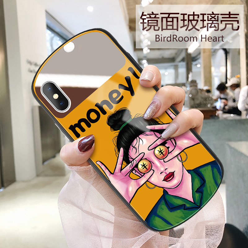 苹果x手机壳XR椭圆形镜面玻璃壳iPhonex补妆镜子iPhonexsmax潮牌xmax网红同款xsmax个性创意iPhonexr时尚女款