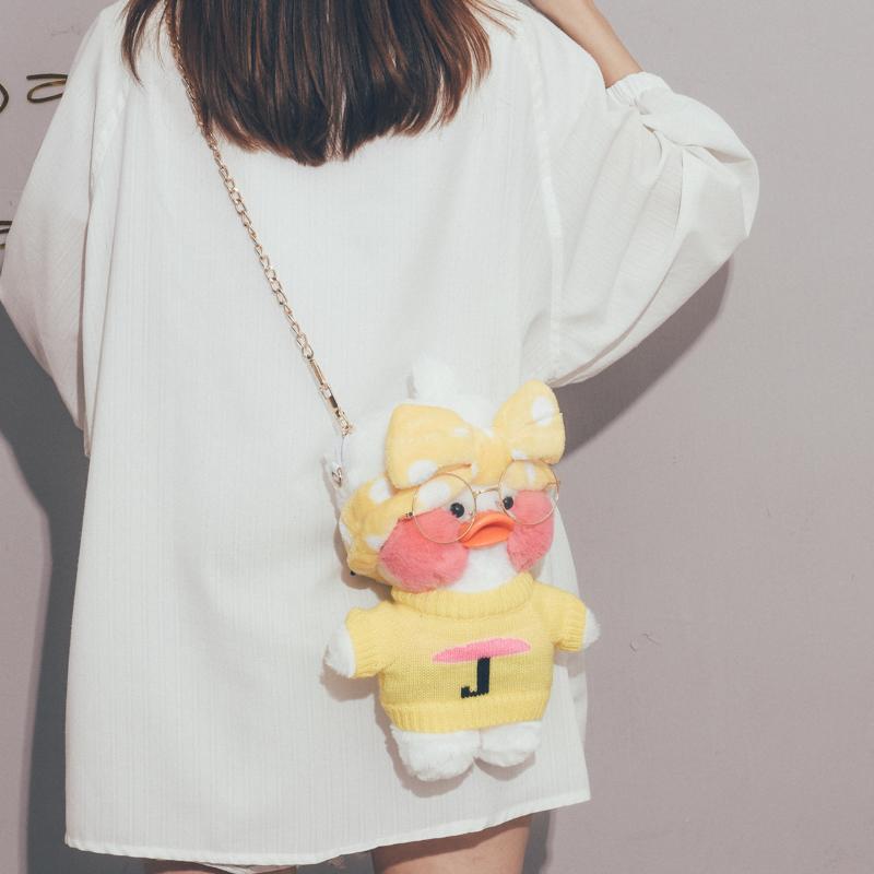 可爱小包包女2019新款丑萌搞怪玻尿酸鸭毛绒包韩版百搭网红斜挎包