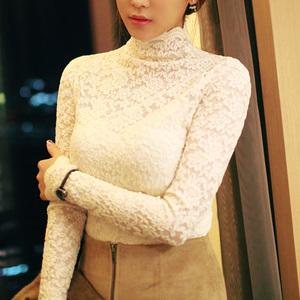2019春季新款韩版大码白色蕾丝高领长袖内搭加绒加厚打底衫女上衣