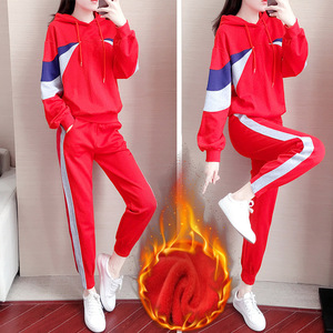 Plus velvet sports suit female autumn and winter new year red trend casual fashion two-piece ghost dance dance shuffle dance costume