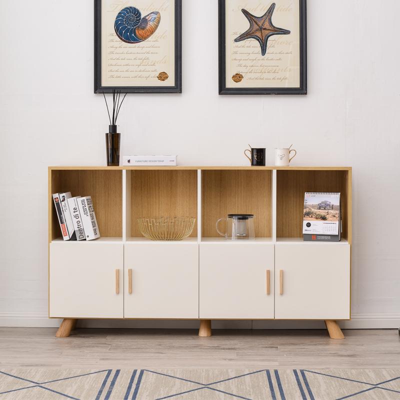 北欧书柜带门书架置物架儿童收纳小木方格柜子家用单个储物矮边柜