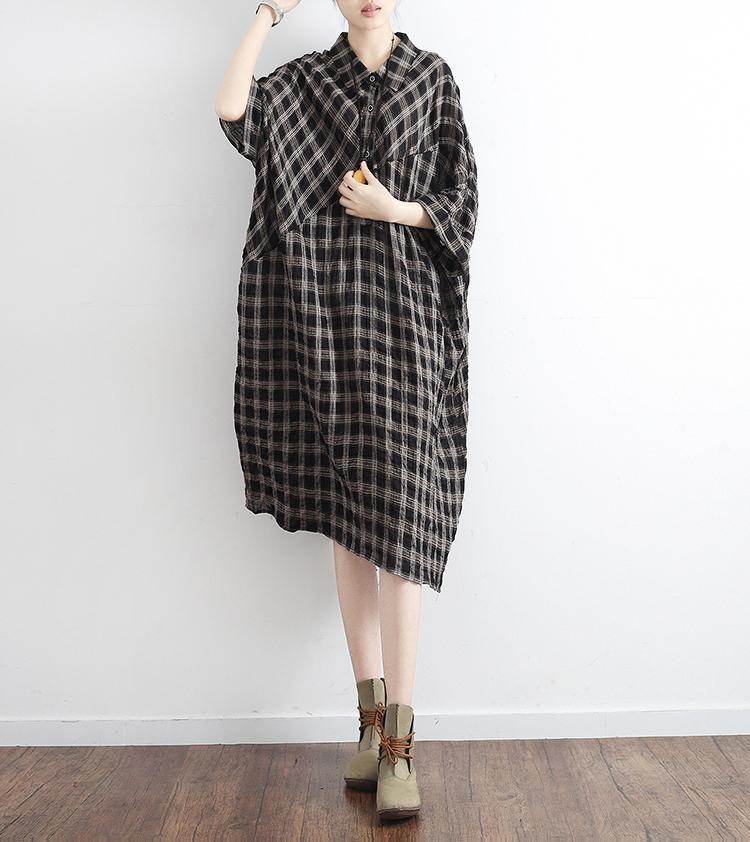 2018夏季新款原创设计女装小清新棉麻格子文艺宽松大码衬衫连衣裙