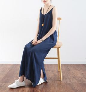 夏季最新款会呼吸的吊带连衣裙,宽松、超长