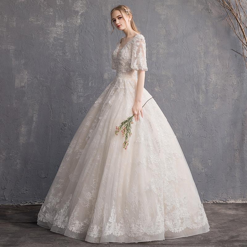 主婚纱礼服2019新款女法式新娘森系V领简约齐地超仙抖音长拖尾轻