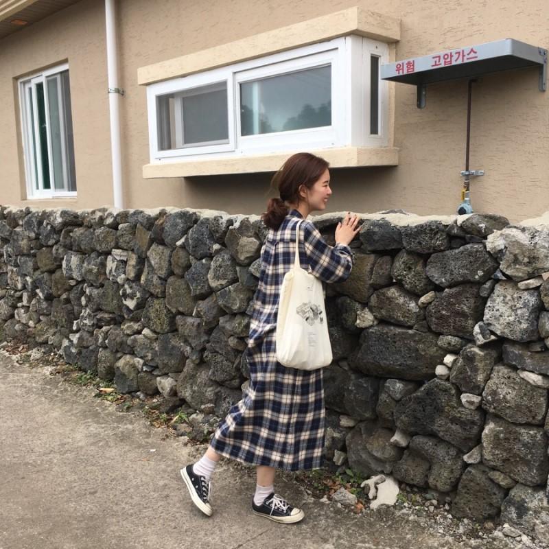 神游家定制 10月秋季 独家定制款 蓝色格子长款衬衫连衣裙 175
