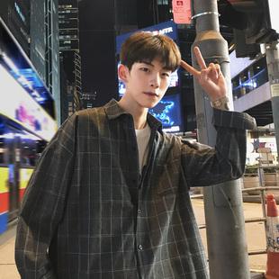 格子衬衫男长袖韩版潮流帅气男士衬衣夏季港风休闲百搭寸衫外套