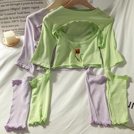 超短款针织防晒长袖T恤+绣花吊带背心上衣女夏季两件套时尚套装