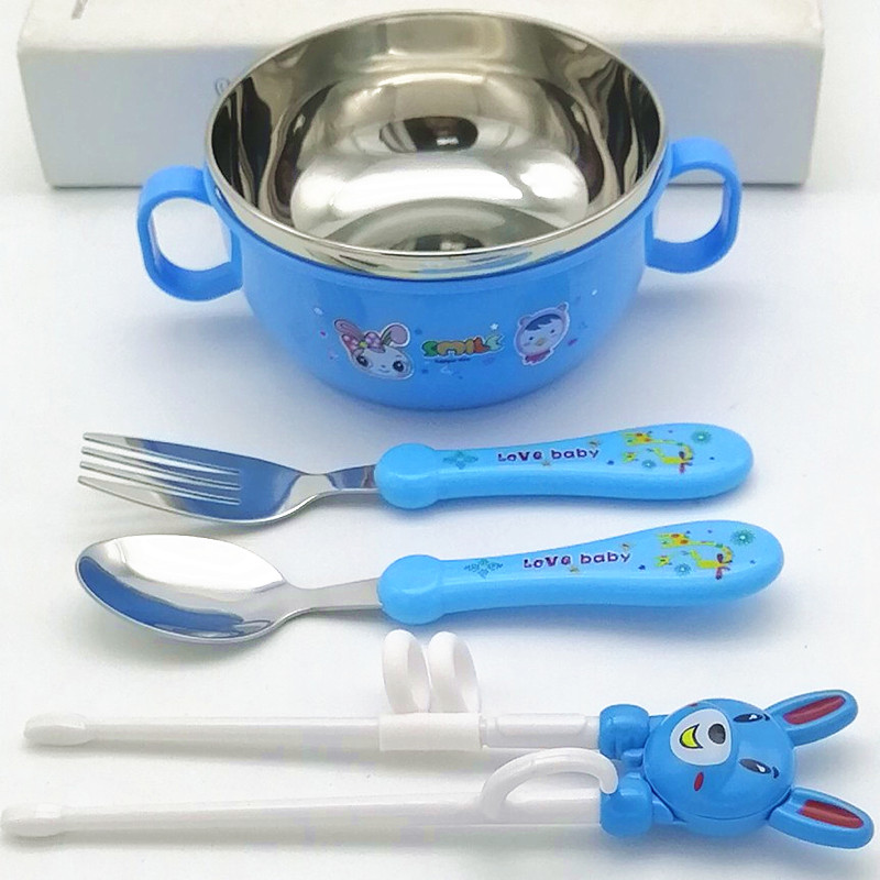 儿童学习筷子家用勺子套装不锈钢幼儿训练筷小孩吃饭的筷宝宝餐具