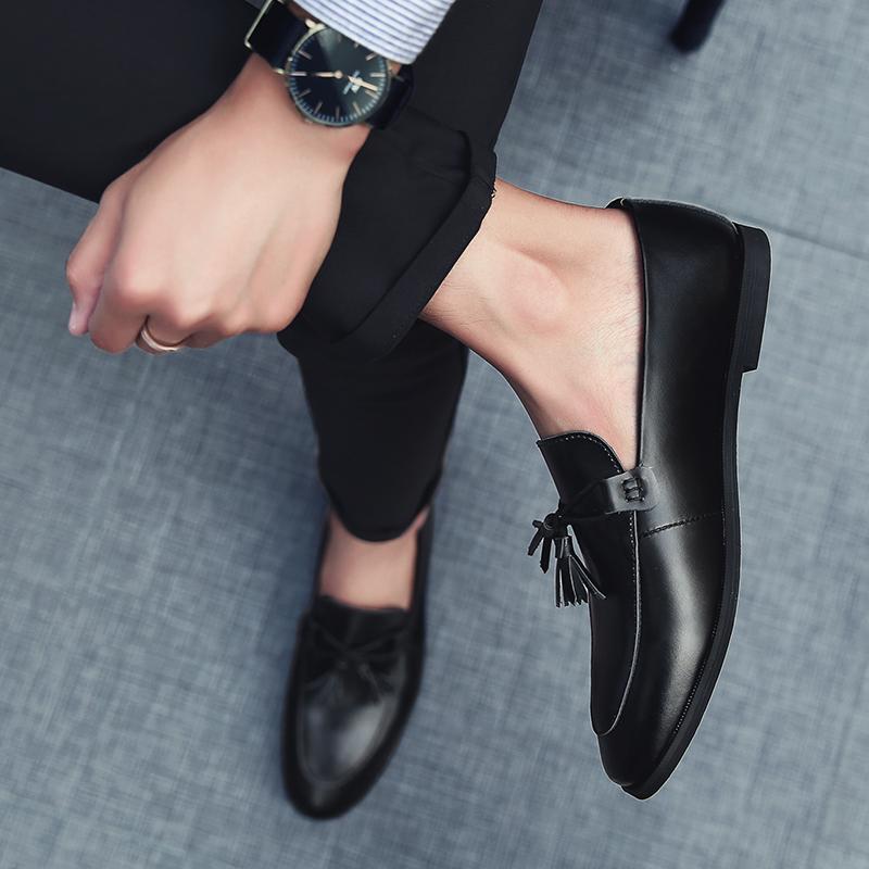 小皮鞋男鞋冬季韩版英伦真皮青少年百搭潮流学生一脚蹬懒人休闲鞋