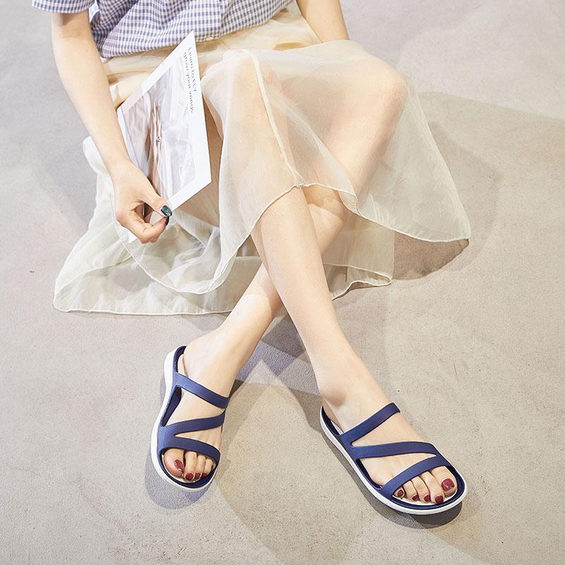 2021夏季新款凉鞋女拖鞋沙滩洞洞鞋防滑软底妈妈坡跟塑料果冻凉鞋