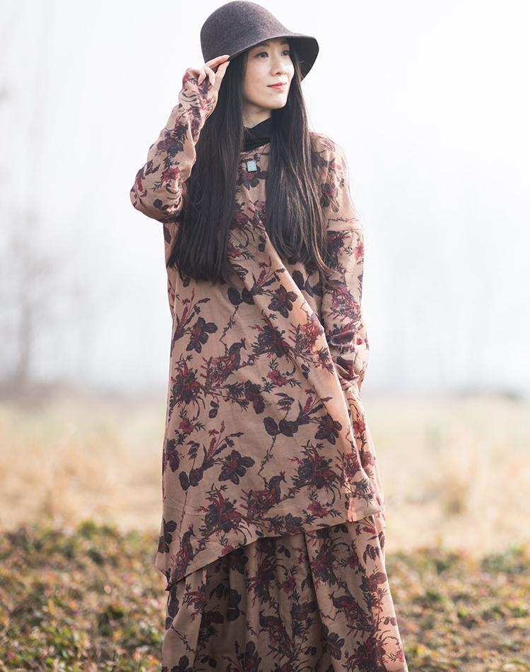 【知时光定制】原创设计新款100%羊毛立体裁剪印花女文艺范连衣裙