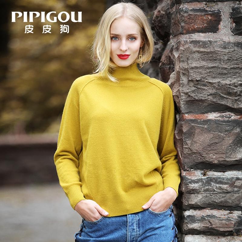 皮皮狗新款羊绒衫女 2017秋季新品 半高领插肩袖廓形宽松套头毛衣