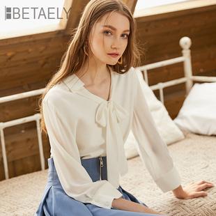 雪纺衫女长袖2019春装新款韩版宽松遮肚子洋气小衫蝴蝶结白衬衫