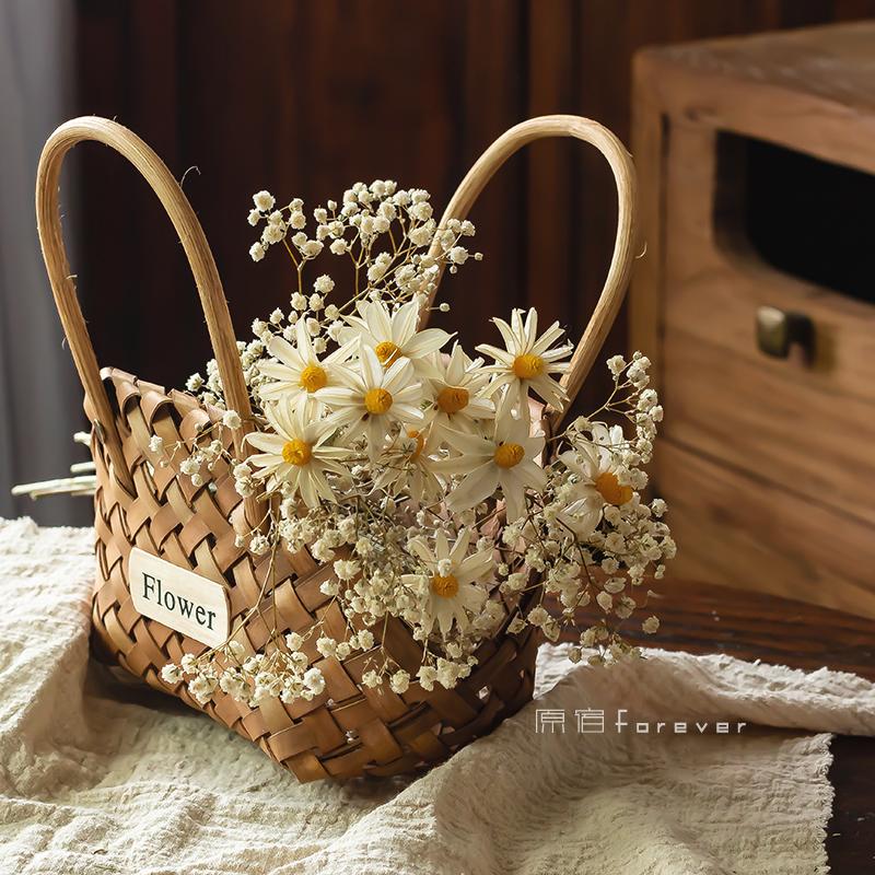 天然满天星干花装饰桌面橱窗摆设野餐花篮花束结婚拍摄摆件小雏菊