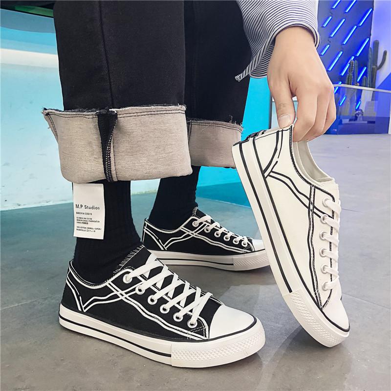 2019春季新款男士帆布鞋透气男鞋港风潮学生鞋时尚休闲鞋