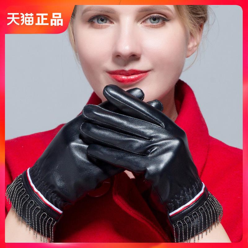 皮手套可爱女士手套冬韩版触屏加绒加厚修手保暖女触摸屏开车新品