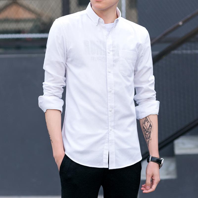 衬衫男长袖春季寸衫休闲修身韩版潮流2020新款牛津纺网红男士衬衣