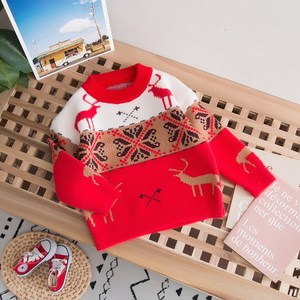 Baby child clothes parent-child knitwear girl sweater red winter sweater children's clothing base winter