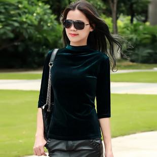 2020夏季新款时尚金丝绒上衣中袖女t恤半高领打底衫修身显瘦女装图片