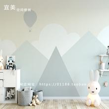 北欧网yi0墙纸几何in房壁纸男孩卧室卡通灰色背景墙宜美空间